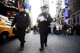 NYPD officers continue preparations in Times Square for New Year's Eve celebrations in New York