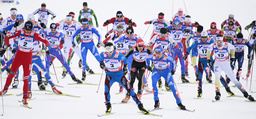 Competitors struggle for position during men's cross country 50 km mass start race at Nordic World Championships in Liberec