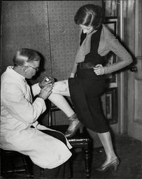 Tattoo Revival 1932 Tattooist Mr G Burchitt Tattooing Woman's Leg.