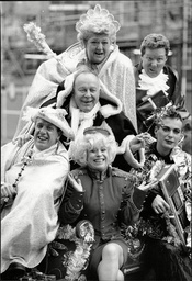 Carry On Having Fun Is The Message From Bbc Radio This Christmas With A Comedy Pantomime Starring Among Others Claire Rayner Rory Bremner Ned Sherrin Arthur Smith Barbara Windsor And Julian Clary Pictured Here Getting Festive.