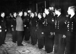 Hitler with the crew of U-47 and Guenther Prien