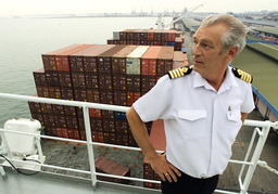 FILE PHOTO OF CAPTAIN ARNE RINNAN ON THE BRIDGE OF THE NORWEGIAN FREIGHTER TAMPA IN SINGAPORE