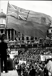 The Red Duster Flag Flying At Merchant Navy Seamans Meeting At Trafalgar Square During Seamens Strike.