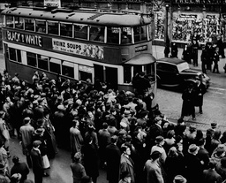 Rush For Trams At South London's Elephant And Castle During World Cup 1938.