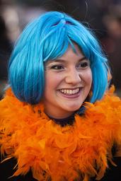 France. Paris (75). Portrait of a woman dressed up at Paris carnival