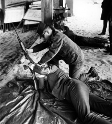 Journalists during shooting match of US army in Berlin