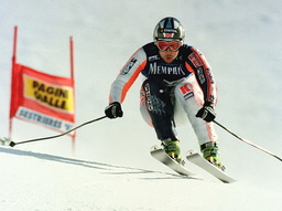 NORWAY'S LASSE KJUS SKISS TO A SECOND PLACE IN THE SUPER-G RACE AT THE WORLD ALPINE SKIING CHAMPIONSHIPS