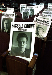 PLACARD MARKS RUSSELL CROWES SEAT AT ACADEMY AWARDS AT KODAK THEATRE