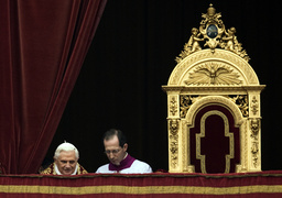 Pope Benedict XVI arrives to lead his Urbi et Orbi message from the central balcony of Saint Peter's Square