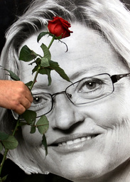 MAN PLACES SINGLE ROSE IN FRONT OF PICTURE OF SLAIN SWEDISH FOREIGN MINISTER ANNA LINDH IN STOCKHOLM