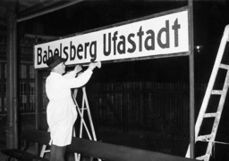 The station nameboard 'Babelsberg Ufastadt' is installed, 1938