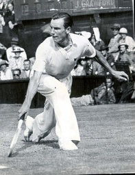 Fred Perry Professional Lawn Tennis Player Defeating Jack Crawford In The Singles Semi-final At Wimbledon. He Will Defend His Title As Champion Against Von Cramm.