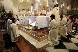 Jerusalem's Latin Patriarch Twal leads Christmas mass at Church of Nativity in Bethlehem
