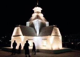 SNOW SCULPTURED MODEL OF A CHURCH IN HELSINKI