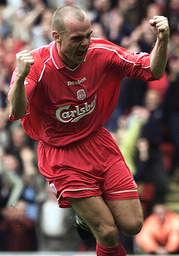 LIVERPOOL'S MURPHY CELEBRATES SCORING THE EQUALISER AGAINST LEEDS UNITED IN THE ENGLISH PREMIER LEAGUE MATCH AT ANFIELD