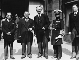 Hjalmar Schacht receives a Chinese delegation at the Friedrichstrasse station, 1937