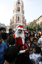 A man dressed as Santa Claus is pictured during Christmas day in Lahore
