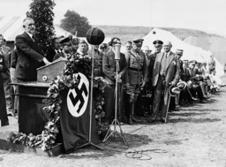 Bernhard Rust and Theodor Lewald at the opening of a sports students camp, 1936