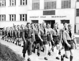 Hitler Youth march through Spis, 1939