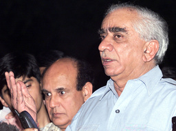 INDIAN FOREIGN MINISTER JASWANT SINGH GESTURES IN NEW DELHI