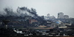 Smoke rises after Israeli air strike in Gaza