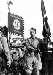 Adolf Hitler in 'blood flag consecration' on the Nuremberg Rally, 1936