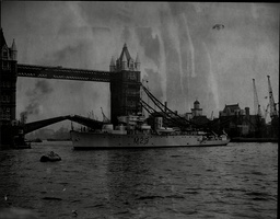 Hms Cockatrice Royal Navy Minesweeper Ship Seem At Tower Bridge In The Pool Of London.