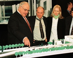 CHANCELLOR KOHL LOOKS AT A MODEL OF THE NEW CHANCELLERY