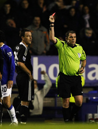 Chelsea's Terry is sent off by referee Dowd during their English Premier League soccer match against Everton in Liverpool