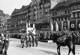 Parade of German troops on the Wenceslas Square in Prague, 1939