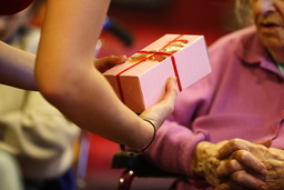 Christmas gift in an elderly persons' home
