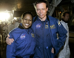 Space shuttle Discovery astronauts Higginbotham and Fuglesang shown after exiting the shuttle after landing in Cape Canaveral
