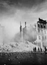 Bombed buildings in Warsaw, Poland, 1939 (b/w photo)
