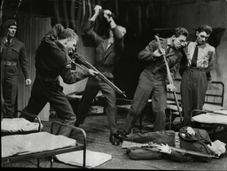 Alan Dobie Terence Taplin John Noakes George Innes Frank Wylie And John Levitt; Actors With Rifles In Army Barracks During The Play Chips With Everything Royal Court Theatre 1963.