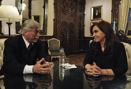 File photo shows Argentine province Rio Negro Governor Soria and Argentine President Fernandez de Kirchner holding a private meeting in Buenos Aires
