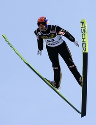 Jacobsen from Norway soars through the air during the first practice of the second competition of the four-hills ski jumping tournament in Garmisch-Partenkirchen