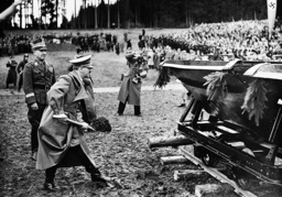 Adolf Hitler at the first cut of the spade for the Austrian highway, 1938