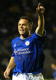 LEICESTER CITY'S DICKOV CELEBRATES HIS SECOND GOAL DURING THEIR MATCH AGAINST LEEDS UNITED AT THE WALKERS STADIUM