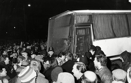 News International Strike 1986: Striking Print Workers Stop Coach Carrying Workers From Entering Rupert Murdoch's Printing Plant At Wapping.