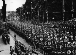 Parade of standards in Weimar before Adolf Hitler, 1936