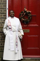 Reverend Rose Hudson-Wilkin outside her home in Hackney