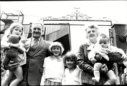 Liverpool Manager Bob Paisley With Wife Nessie Shankly And Her Grandchildren At Opening Of Bill Shankly Memorial Gates At Anfield Robert Paisley Obe (23 January 1919 A 14 February 1996) Was An English Footballer And Manager Who Spent Almost Fifty Yea