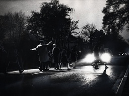 Schoolchildren Crossing A Main Road In Cheshire With The Help Of A Lollypop Man To Go To School On A Dark Morning Because Of The British Standard Time Experiment.. Original Library Print In Packet: Children 1 Road Safety