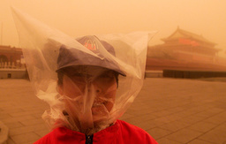 A RESTAURANT WORKER COVERS HER HEAD WITH A PLASTIC BAG DURING BEIJING SAND STORM