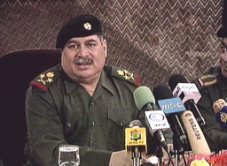 FILE PHOTOGRAPHER TAKEN FROM TV OF FORMER IRAQI DEFENCE MINISTER SULTAN HASHIM AHMED