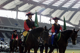 POLICE OFFICERS TAKE PART IN THE LAUNCH OF A SPECIAL UNIT AT SEOUL WORLD CUP STADIUM