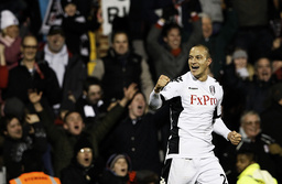 Fulham's Zamora celebrates after scoring against Arsenal during their English Premier League soccer match in London