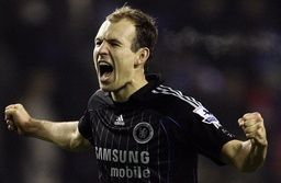 Chelsea's Robben celebrates following their English Premier League soccer match against Wigan Athletic in Wigan