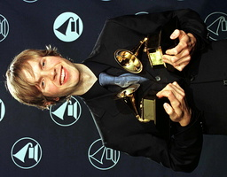 AMERICAN SINGER BECK WITH HIS TWO GRAMMY AWARDS