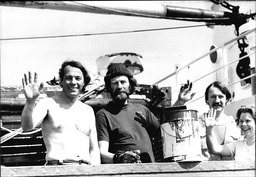 Transglobal Explorers (l-r) Charles Burton Sir Ranulph Fiennes Terry Kensington And Annie Weymouth Onboard Their Ice-breaker The 'benjamin Bowring' In The Thames Estuary.